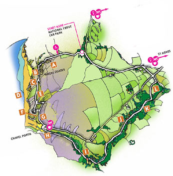 Walk 7 Map - Wheal Coates, Chapel Porth, Wheal Lawrence Valley and Goonvrea