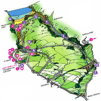 Walk 8 Map - Water Lane, Wheal Butson and Jericho Valley